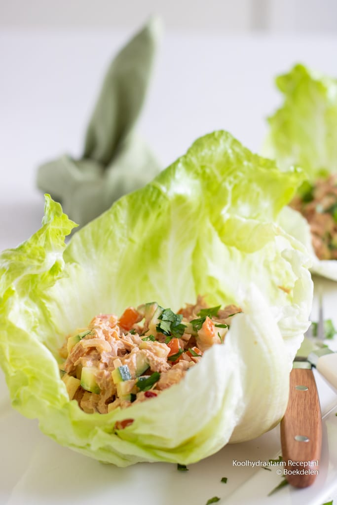 pittige tonijnsalade in slablad