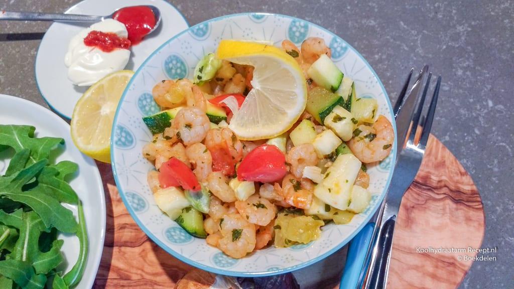 knoflook garnalen met groente