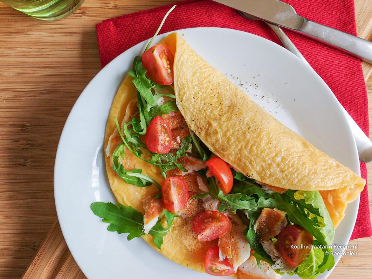 wrap omelet met forelsalade