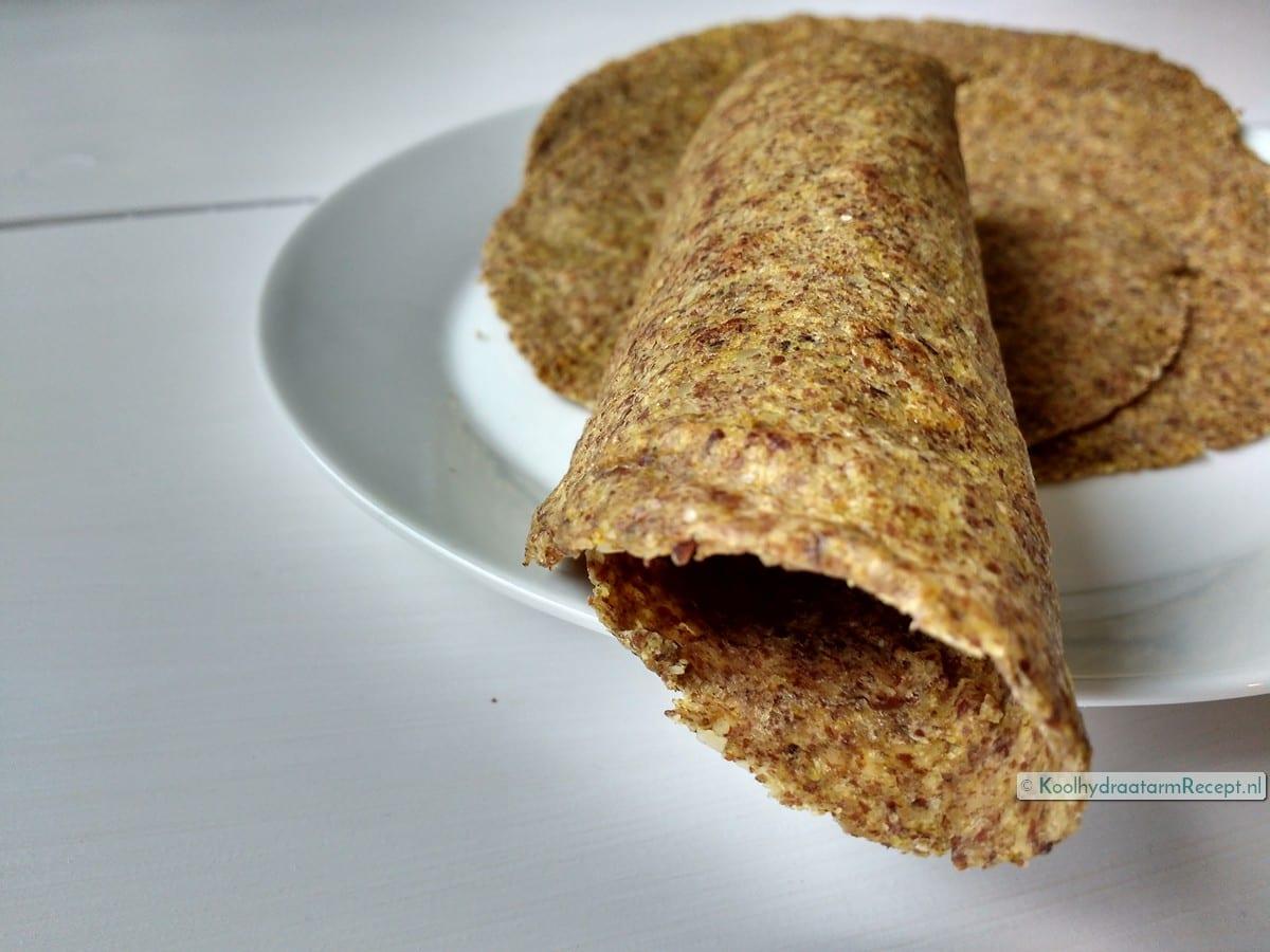 koolhydraatarme tortilla taco nachochips, opgerolde tortilla's