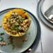 spaghettipompoen met paddenstoelensaus-opgemaakt bord