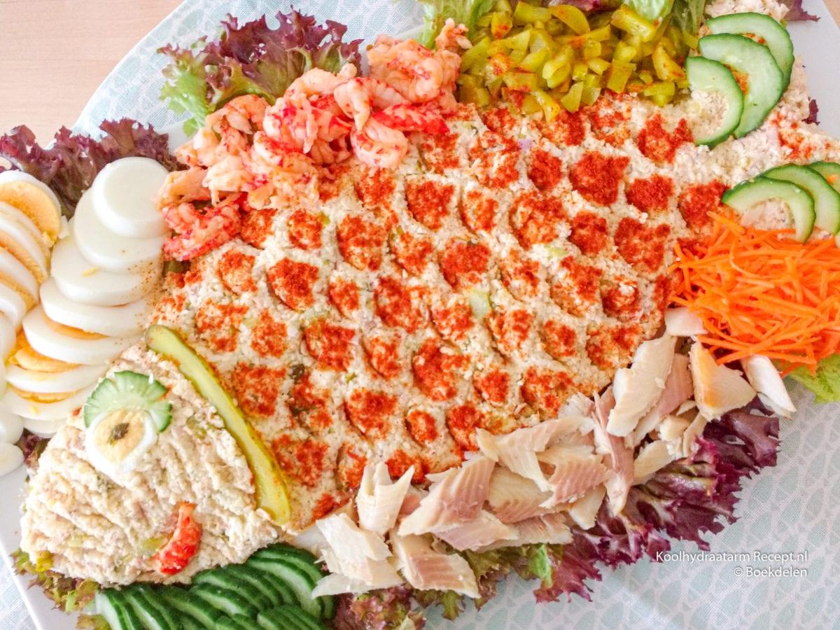 koolhydraatarme huzarensalade met vis