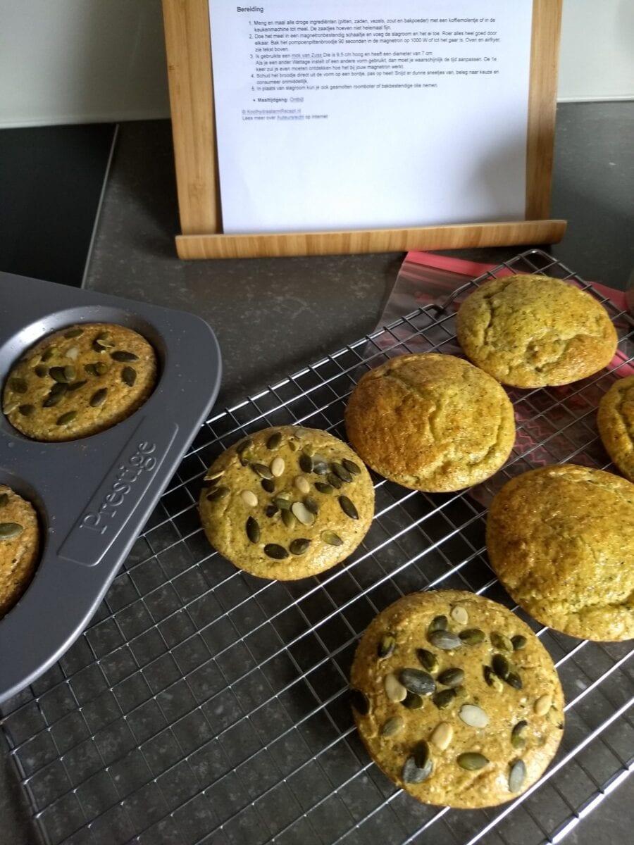 pompoenpitten broodje uit de oven