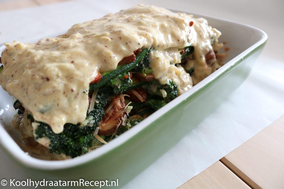 koolhydraatarme lasagne met broccoli