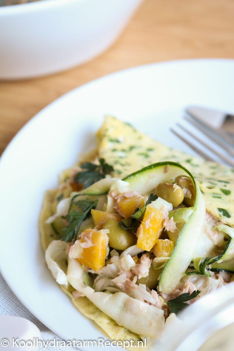 Keto salade wrap met tonijn