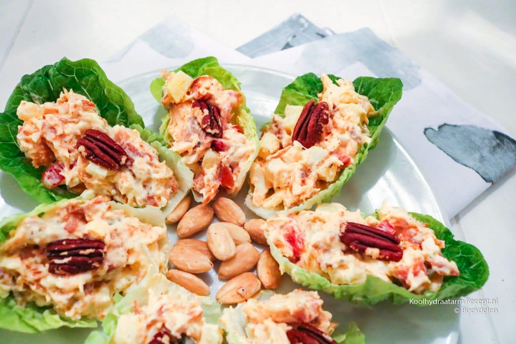 saladeschuitjes met warmgerookte zalm