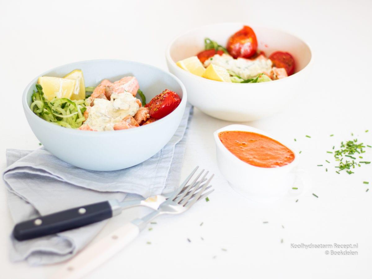 komkommerbowl met zalm