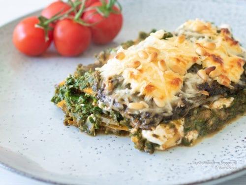 Ook deze spinazie pompoen lasagne met pecorino