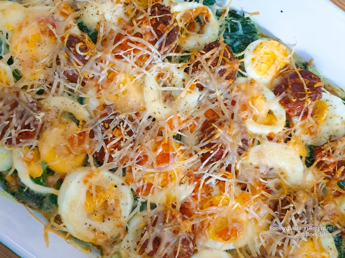 ovenschotel met spinazie en ei