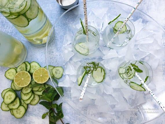 ijsskoud komkommer munt drankje