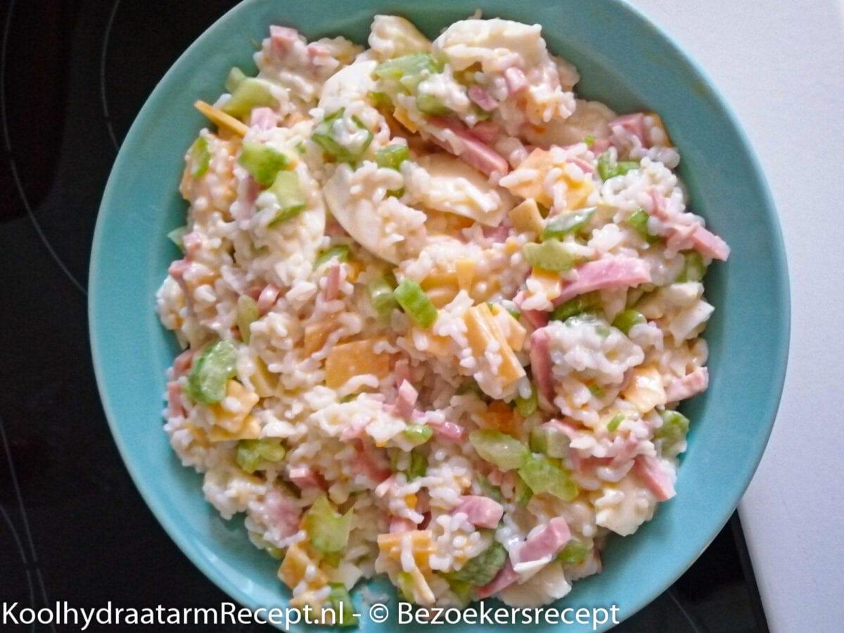 koolhydraatarme rijstsalade met ham en ei