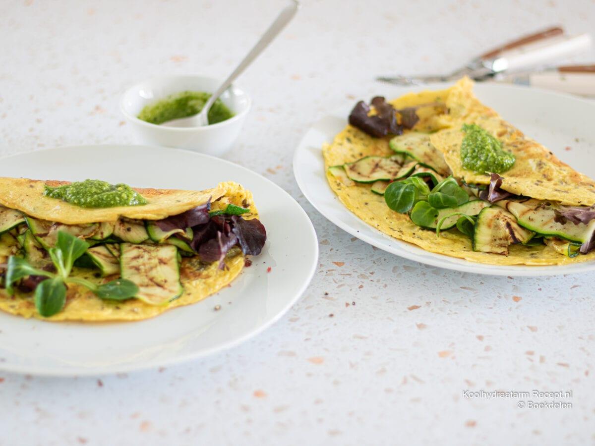 Omelet met gegrilde courgette