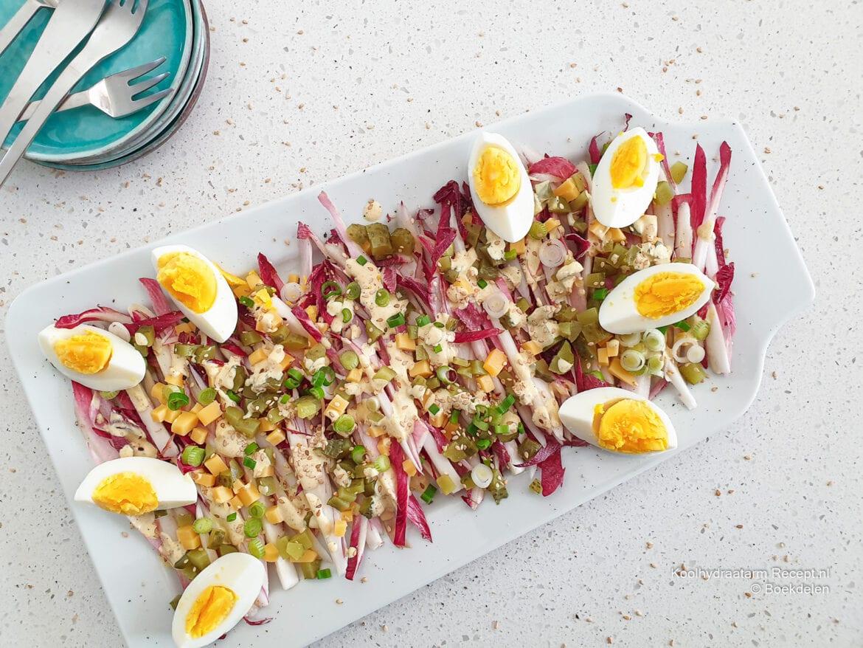 roodlofsalade met ei
